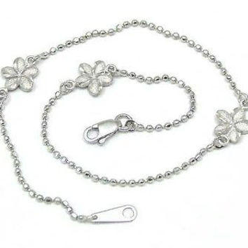 14K SOLID WHITE GOLD 2 SIDED HAWAIIAN PLUMERIA FLOWER DC BEAD CHAIN ANKLET 10""
