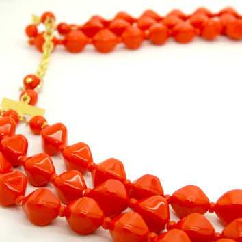 Red bead necklace, Vintage necklace, Red beaded necklace, Eye-catching chunky red necklace, Red fashion necklace, Multi strand necklace