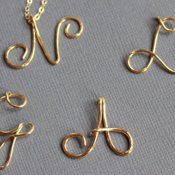 Personalized Script Initial Custom Gold 14K Fill Bridesmaid Upper Case Initial Calligraphy Letter Necklace Wire Name Initial Personalized