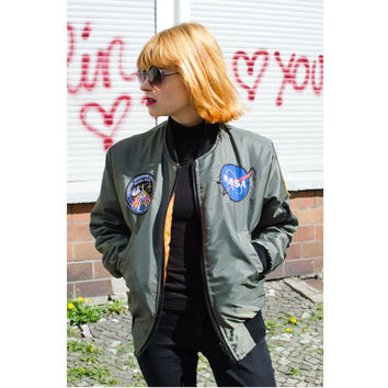 NASA MA1 Baseball Military Bomber Women Jacket