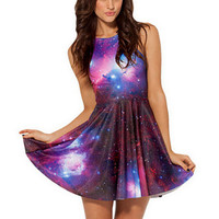 Red Galaxy Print Sleeveless Skater Dress