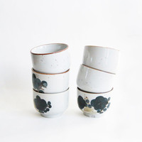 6 cups Japanese sake white ceramic flower pattern
