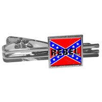 REBEL - Confederate Southern Flag Distressed Square Tie Clip