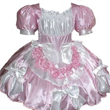 Satin Swiss Maid Little Bo Peep Sissy Bows Dress Costume Pink and White Custom Size Plus Size