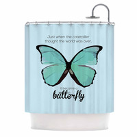 """NL Designs """"Blue Butterfly"""" Blue Quote Shower Curtain"""