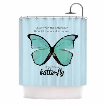 "NL Designs ""Blue Butterfly"" Blue Quote Shower Curtain"