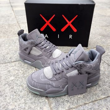 "KAWS x Air Jordan 4 ""Cool Grey"" Unisex Basketball Shoes"