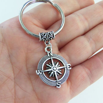Compass keychain, compass key chain, lost without you, no matter where, long distance gift, gifts for her, gifts for him, nautical keychain