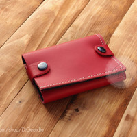 Womens leather wallet credit card wallet red genuine leather wallet minimalist wallet handmade coin pocket wallet card holder leather purse