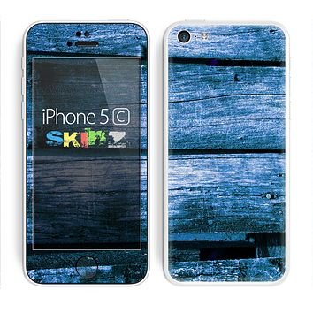 The Grunge Blue Wood Planks Skin for the Apple iPhone 5c