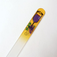 Hand Painted Wine Glass on Yellow Medium Czech Nail File Soft Black Case