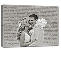 Valentines Day Gift Wedding Gift First Dance Lyrics/ Custom Canvas / Your Wedding Photo with your Lyrics/ Vows/ Love Story