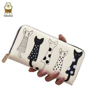 Beibaobao Women Wallets fashion Dollar price Leather Wallet carton cat Day Clutch Purse long woman Purses female bag LS8723