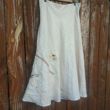 Boho Skirt  - Ecru Shabby  - Rustic Romantic Country Skirt -  A Line Original One of a Kind Design - Upcycled - Embellished Skirt