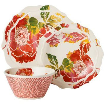 Threshold™ Scallop Floral Dinnerware Set of 12 - Coral
