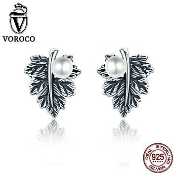 VOROCO Vintage 100% Genuine 925 Sterling Silver Leaves Maple Leaf Pearl Stud Earrings for Women Fine Plant Jewelry VSE013