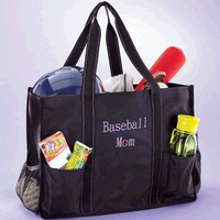 Baseball Mom Tote Sports Utility Bag Organizing Games for Child with Merchandise Elastic Mesh Pocket Extra Storage Coaching Player Star Summer Sporting Activities or for Mother's Day