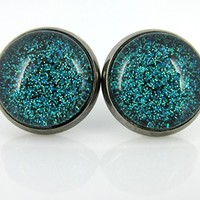 Hematite-tone Teal Green and Black Glitter Glass Stud Earrings Hand-painted 12mm