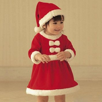 Newborn baby girl dress up Christmas party dress boy's rompers wear bow baby clothes hat
