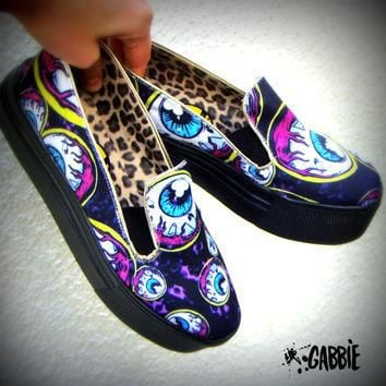 Eye Am Watching - Canvas Slip On Shoes, Creepers, Horror, Zombie, Monster, Eyeball, Pu