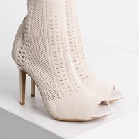 Knit Stretchy Open Toe Stiletto Heel Fabric Booties in Nude, Olive