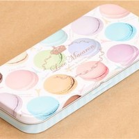 white macaron pencil case tin can from Japan - Pencil Cases - Stationery