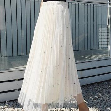White Patchwork Grenadine Sequin Draped Floor Length Elastic Waist Fashion Skirt