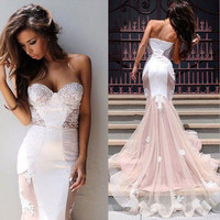 Sweetheart 2015 Pageant New Party Mermaid Ball Formal Dress Evening Prom Gown