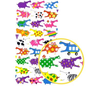 Colorful Hippo Animal Jelly See Through Puffy Stickers for Scrapbooking and Decorating