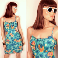 tropical print mesh dress // palm trees and daisies