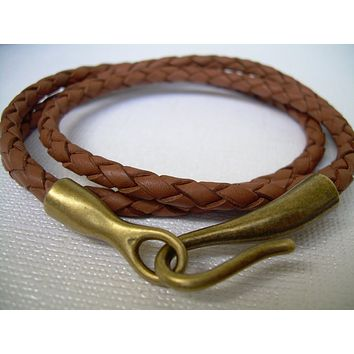 Leather Bracelet, Triple Wrap, Antique Bronze, Hook Closure Clasp, Mens Bracelet, Womens Bracelet