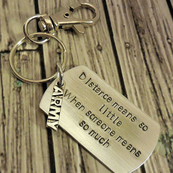 Distance Means So Little Hand Stamped Keychain / Personalized Dog Tag Key Ring  / Personalized Key Ring / Metal Stamped Keyring