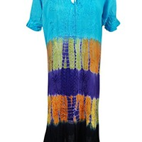 Evelyn Womens Sundress Colorful Tie- Dye Embroidered Lace Work Summer Chic Beach Cover Dress M/L