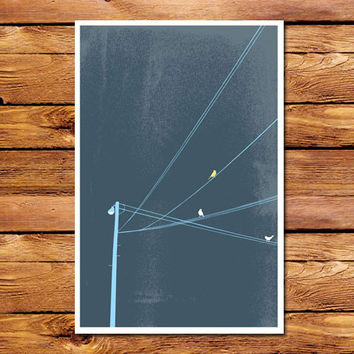 Birds On A Wire Blue Poster