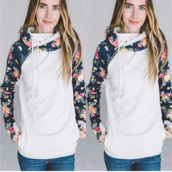 Fashion Print Hooded Long-Sleeved Zipper Top Sweater