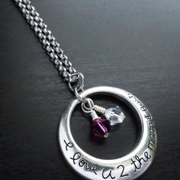 I Love You To The Moon And Back Pendant Necklace-Personalize with Swarovski Crystal Bicone Birthstones