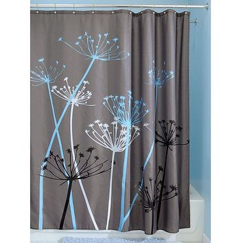 Grey Blue Floral Modern 72 X Inch Shower Curtain