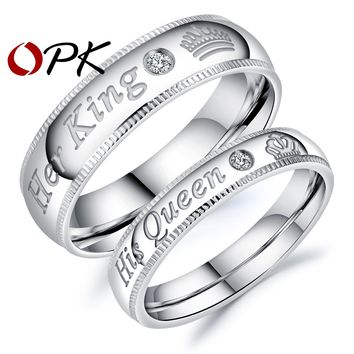 "OPK 2017 New Arrival Romantic Couple Rings ""Her King His Queen"" Stainless Steel Engraving Ring For Lover Best Jewelry Gift GJ607"