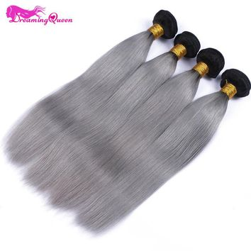 1B/ Grey Straight Human Hair 3 Bundles Ombre Brazilian Human Hair Weave Gray Ombre Hair Extensions Non Remy Dreaming Queen Hair