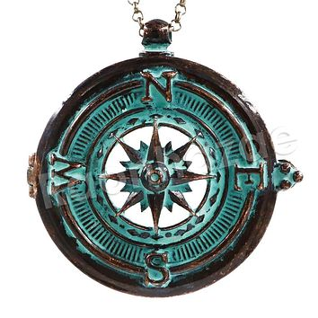 Patina Antique Vintage Desig Navigators Compass  5X Magnifying Glass Locket Pendant Necklace