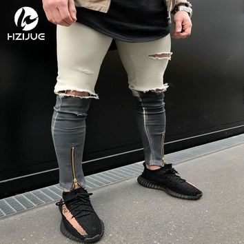 HZIJUE 2017 Newest Fashion Tie-Dye Hole Destroyed Mens Slim Denim Straight Biker Skinny Jeans Men Ripped Jeans size 28-36