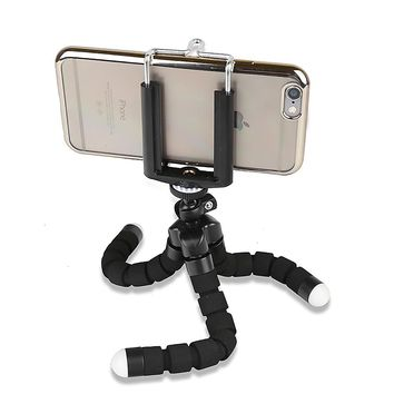 Sponge Cover Octopus Rotatable Flexible Mobile Phone Camera Tripod Mount Stand + phone holder
