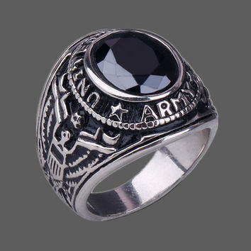 FIVETWOO  RO003 Stainless Steel ARMY Rings For Men With Agate  Four Color 7-13 Size