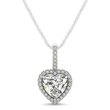 Diamond Halo Heart Shape Moissanite Pendant