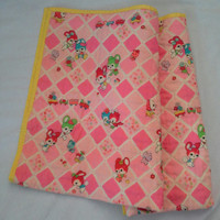 Bright Baby Quilt Blanket made with vintage wool Japanese Kimono fabric - bunny, train and birds