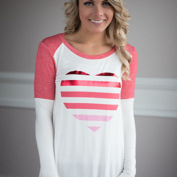 Shades of Pink Heart Top