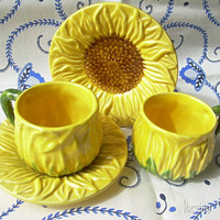 Two Majolica Sunflower Cups and Saucers, Portugal, Sunshine Yellow