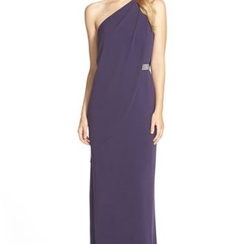 Women's Halston Heritage Draped One-Shoulder Woven Gown,