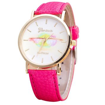 Mance Colourful Women Fashion Design Dial Leather Band Analog Quartz Wrist Watch New Arrival