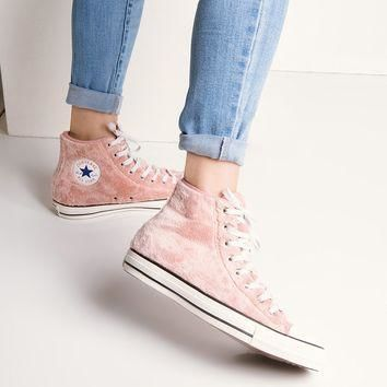 Converse Chuck Taylor Women's Fuzzy Hi Top Sneakers in Rose Tan Black White
